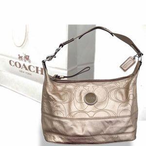 COACH metallic leather shoulder bag